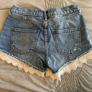 Free People Shorts - Free people lace detail distressed denim shorts